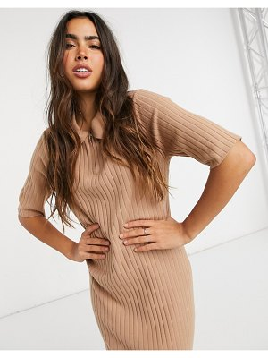 Y.A.S knitted midi dress with collar in tan