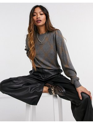 Y.A.S knitted sweater set in brown and gray criss cross-grey