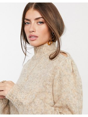Y.A.S knitted sweater with cut out shoulder in beige-brown