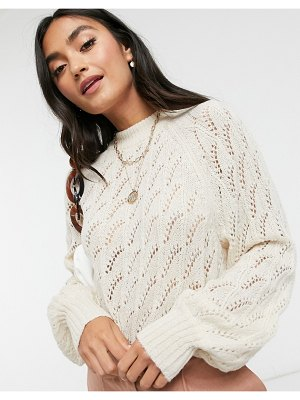 Y.A.S knitted sweater with pattern stitch in cream