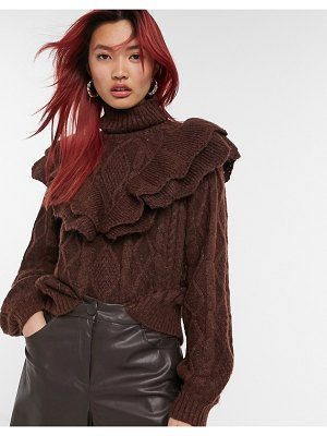 Y.A.S knitted sweater with ruffle detail and turtle neck in brown