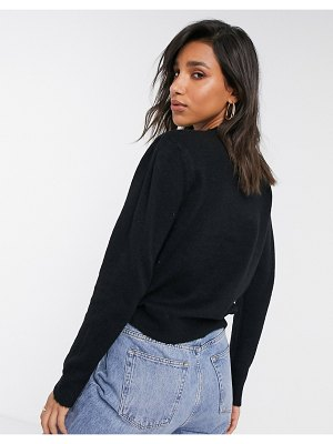 Y.A.S knitted sweater with shoulder detail in black