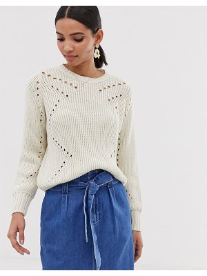 Y.A.S lightweight cable knit sweater-cream