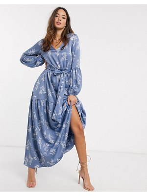 Y.A.S maxi dress with balloon sleeves in blue floral-multi