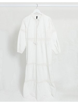 Y.A.S maxi dress with broderie detail and tie neck in white cotton