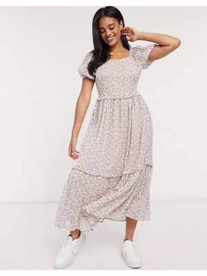 Y.A.S midaxi dress with tiered skirt and puff sleeves in floral print-multi