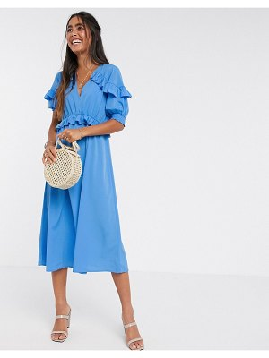 Y.A.S midi dress with ruffle detail in blue