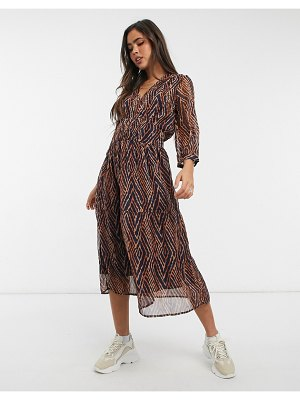 Y.A.S midi dress with shirred waist in abstract print-multi