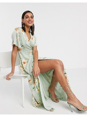 Y.A.S midi wrap dress with fluted sleeve in floral print-multi