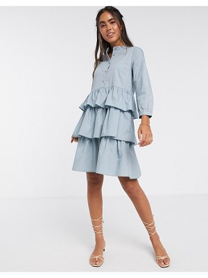 Y.A.S mini dress with tiered skirt in blue
