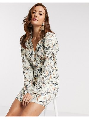 Y.A.S mini dress with v neck and long sleeves in floral print-multi