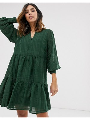 Y.A.S mini smock dress in self check-green