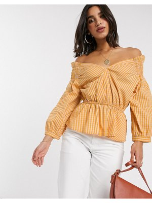 Y.A.S off shoulder blouse with smock detail in yellow check-multi