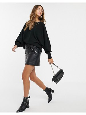 Y.A.S rib knitted batwing sweater in black