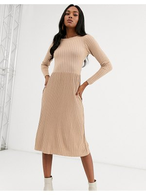 Y.A.S ribbed knitted midi dress-beige