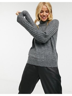 Y.A.S ribbed sweater with high neck in gray