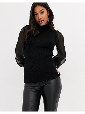 Y.A.S ribbed sweater with sheer sleeves in black