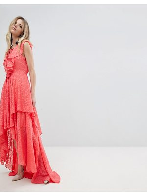 Y.A.S ruffle lace up maxi dress
