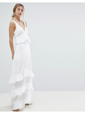 Y.A.S Ruffle Maxi Dress With Lace Inserts