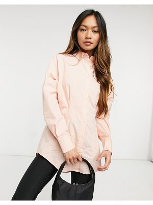 Y.A.S shirt with pleated cinched in waist in dusty pink