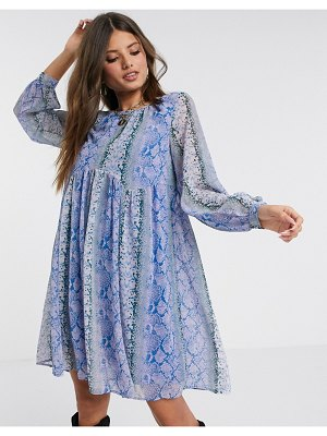 Y.A.S smock dress in purple snake print-multi