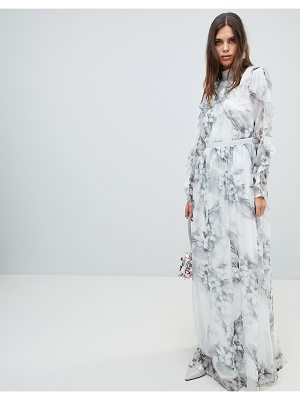 Y.A.S Soft Floral Maxi Dress With Ruffle Sleeves