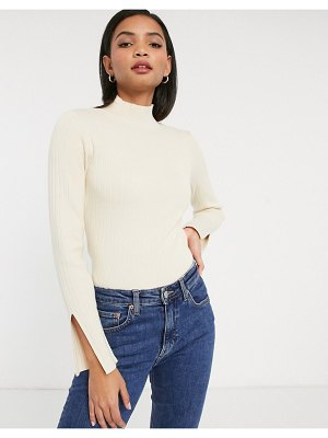 Y.A.S sweater with high neck and split cuff in cream-white