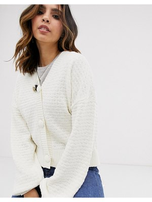Y.A.S textured chunky cardigan-pink