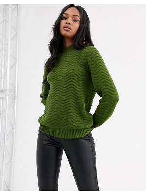 Y.A.S textured high neck knitted sweater-green