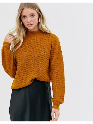 Y.A.S textured high neck knitted sweater-brown