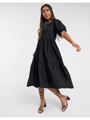 Y.A.S tiered midi smock dress with puff sleeve in black