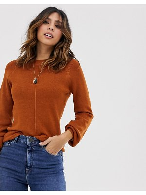 Y.A.S volume sleeve fine knit rib sweater in brown
