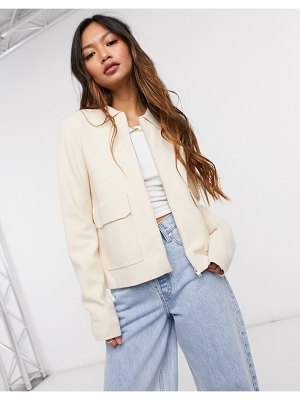 Y.A.S zip through shacket with pocket detail in cream