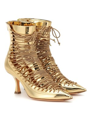 Y/PROJECT lace-up metallic leather ankle boots