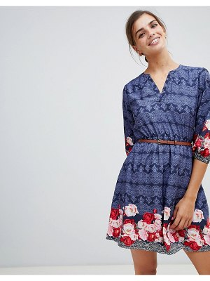 Yumi belted dress with 3/4 sleeves