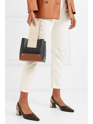 Yuzefi tab small color-block textured-leather tote