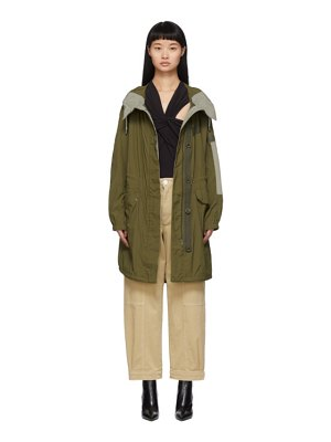 Yves Salomon - Army green arm patch parka