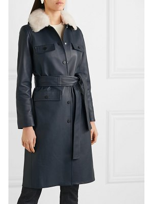 Yves Salomon belted shearling-trimmed leather coat