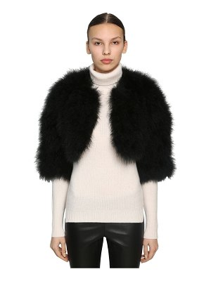 Yves Salomon Cropped feather jacket