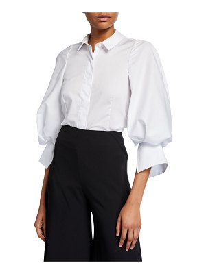 Zac Posen Balloon-Sleeve Button-Front Shirt