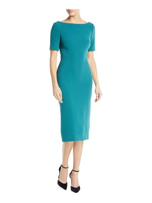 Zac Posen Bateau-Neck Short-Sleeve Fitted Knee-Length Cocktail Dress