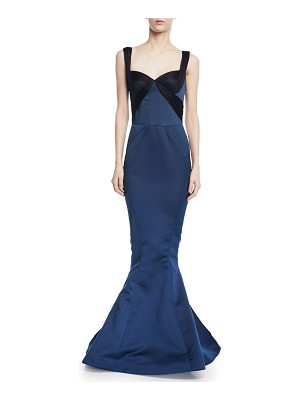 Zac Posen Double Faced Duchess Gown w/ Gathered Tulle Trim