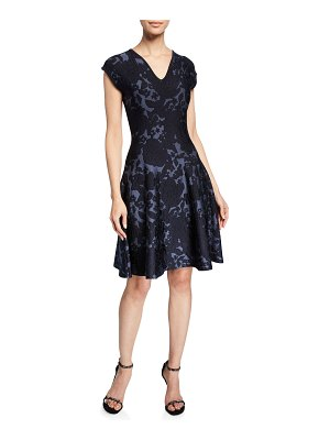 Zac Posen Floral Jacquard Knit V-Neck Dress