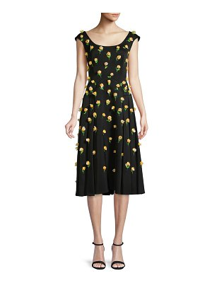 Zac Posen Floral Pleated Knee-Length Dress