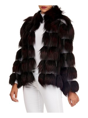 Zac Posen Fox-Fur Jacket with Organza Inserts