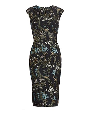 Zac Posen lurex garden jacquard cocktail dress