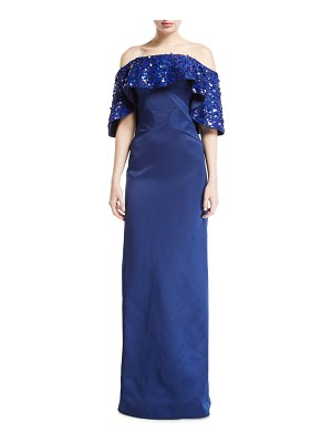 Zac Posen Off-the-Shoulder Draped-Sequined Gown