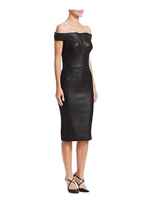 Zac Posen off-the-shoulder glitter lurex cocktail dress