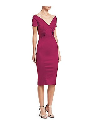 Zac Posen off-the-shoulder satin cocktail dress