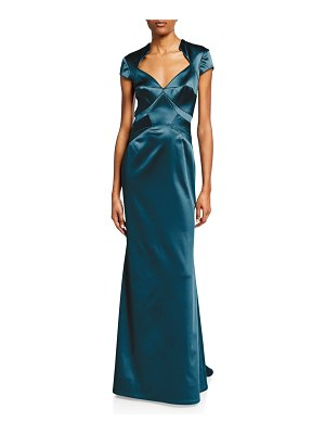 Zac Posen Short-Sleeve V-Neck Satin Gown
